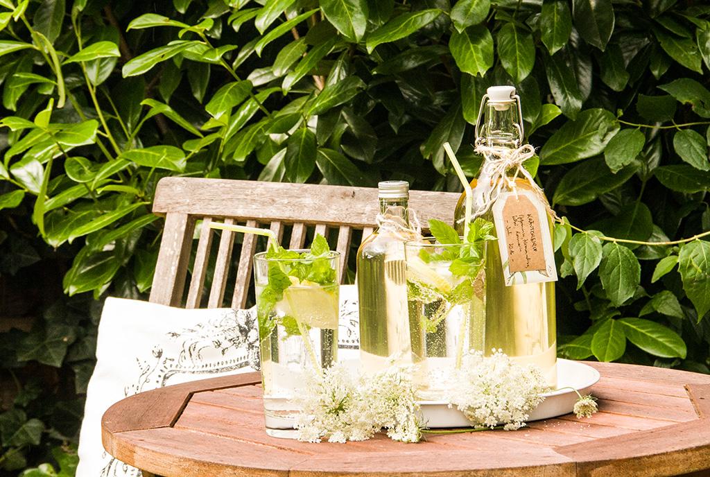 Kräutersirup in Flaschen und Gläsern auf Gartentisch
